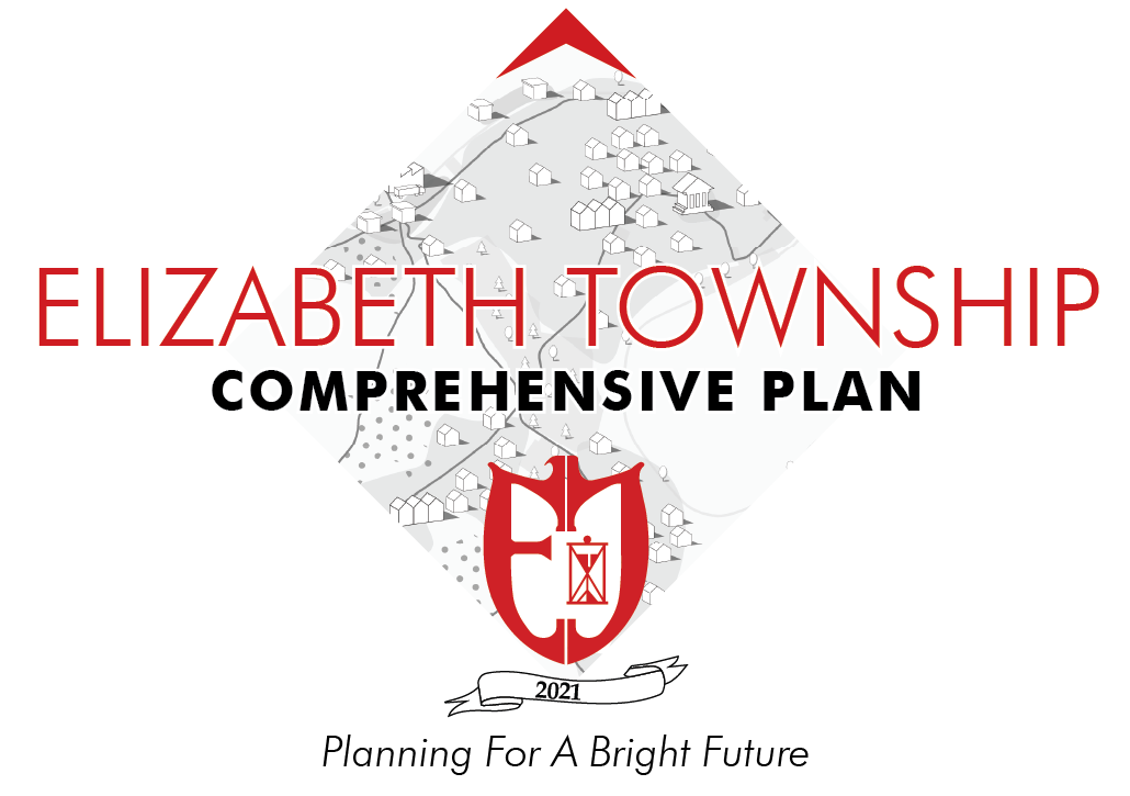 Welcome! Elizabeth Township is working on a Comprehensive Plan: a vision for the future with goals and action steps addressing topics of land use, parks &amp; recreation, housing, municipal services, etc. It is important to gather input from you, the residents, so that the plan accuratelycommunicates the desired direction of the community. <br><br>This is the 1st round within a series of Questionnaires. For now, just 5 quick questions, that's it! It should only take a few minutes. We appreciate your participation.