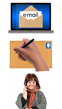 Email, letter and woman using a telephone
