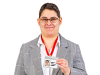 Person with ID badge