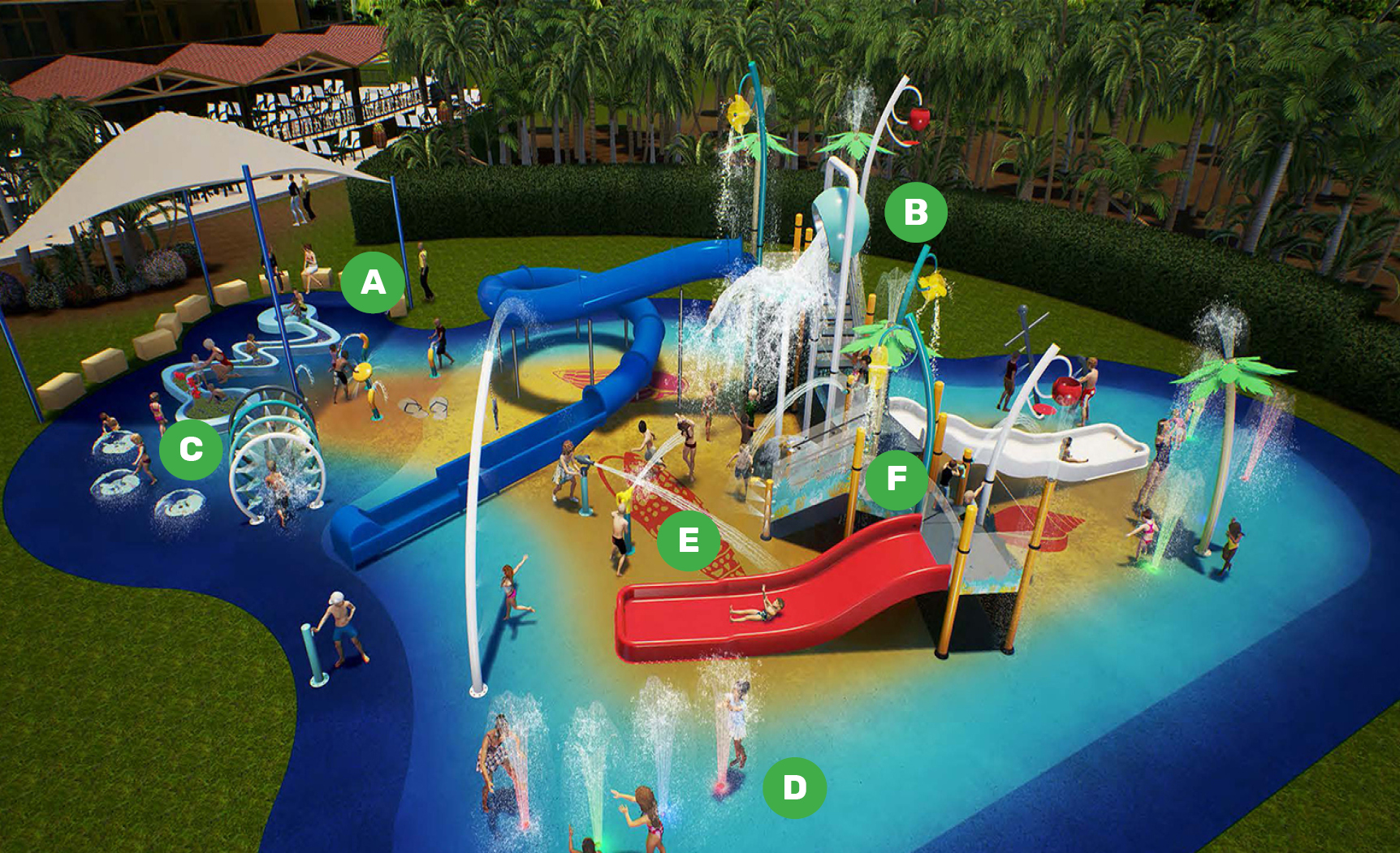 Diagram of a water playground with items labelled