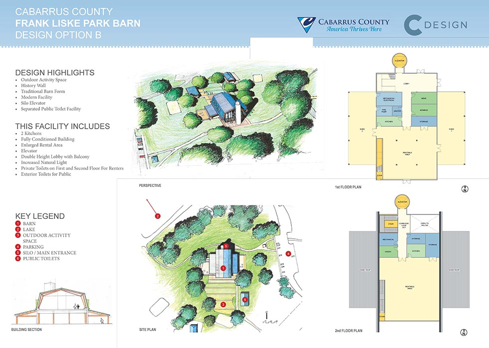 Outdoor activity space, history wall, traditional barn form, modern facility, silo elevator, separated public toilet facility