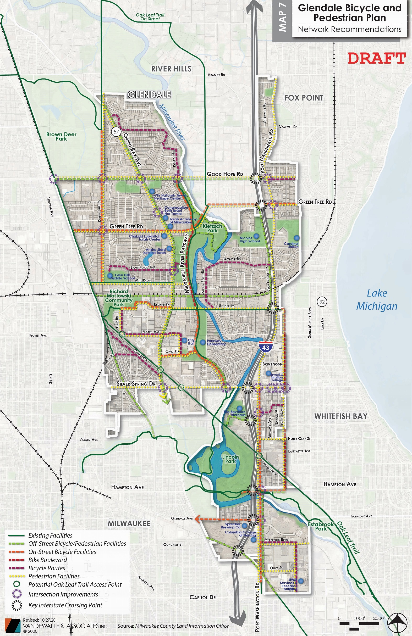 <strong>Glendale Bicycle and Pedestrian Plan - Network Recommendations Map</strong>