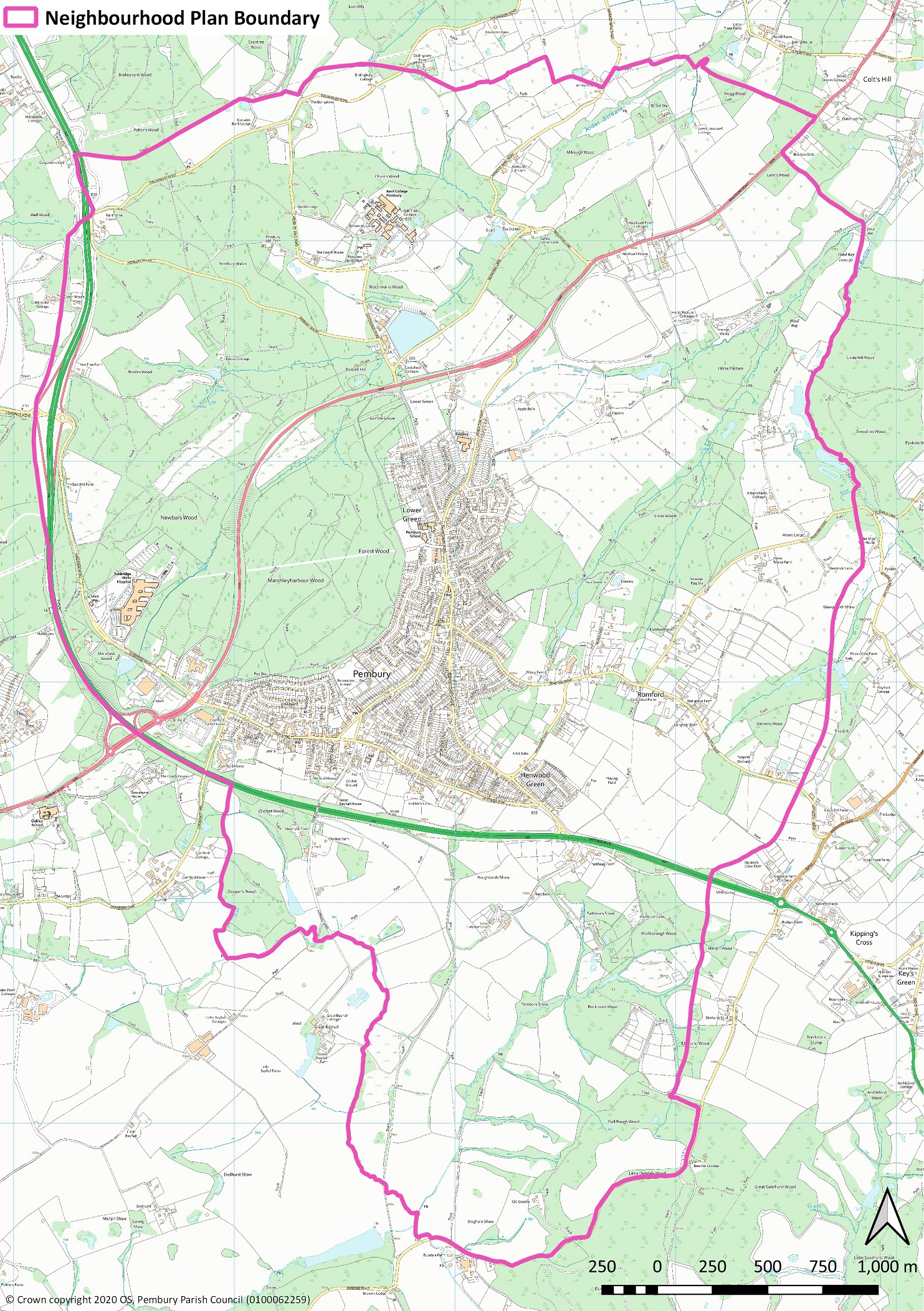 The Pembury Neighbourhood Plan will cover the whole parish, as shown below. When you scroll down, click on 'Next' to answer the questions.