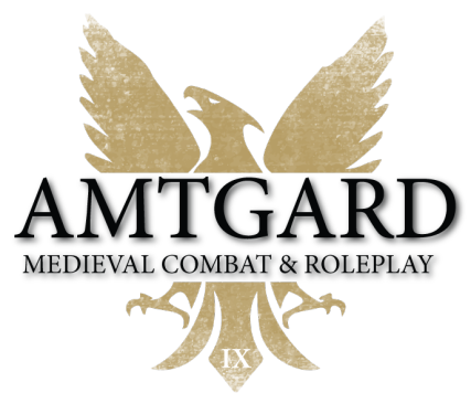 """A gold phoenix with the words """"Amtgard Medieval Co"""