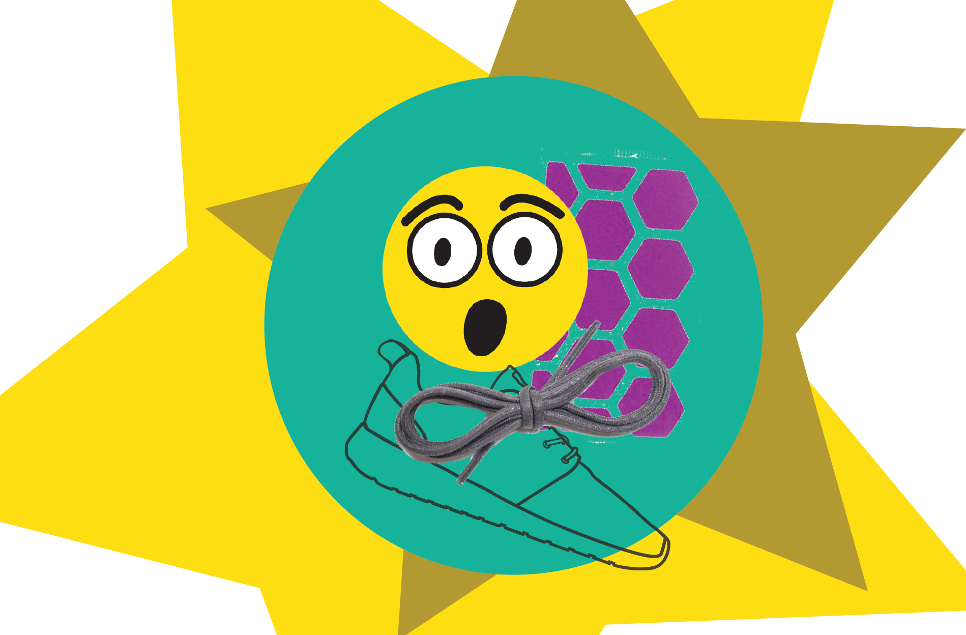 Drawings of a shoe outline with shoelaces, a surprised yellow emoji face, and purple reflective stickers in a hexagon shape