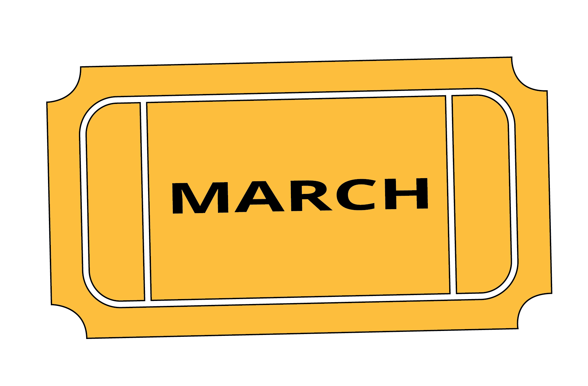 A bonus March raffle ticket. The ticket is yellow and has March written on it.