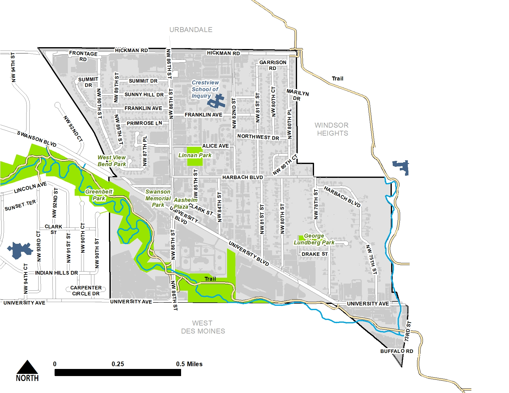 The questions in this survey apply to the District area, highlighted in the map below.
