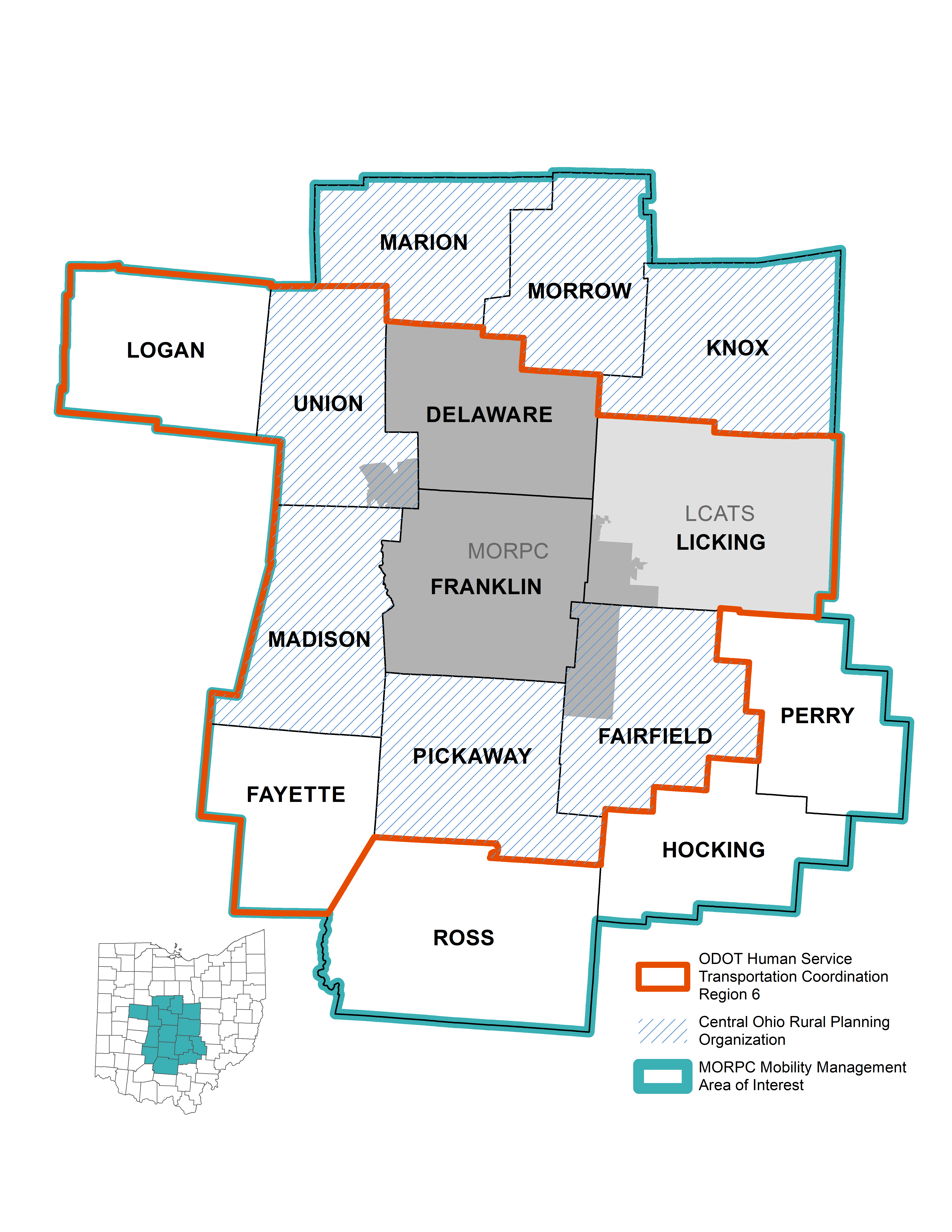 <strong>Map for Reference:</strong> <br>TheMORPC Transit Areas of Interest include the counties that are being referenced for the completion of the Regional Mobility Plan.