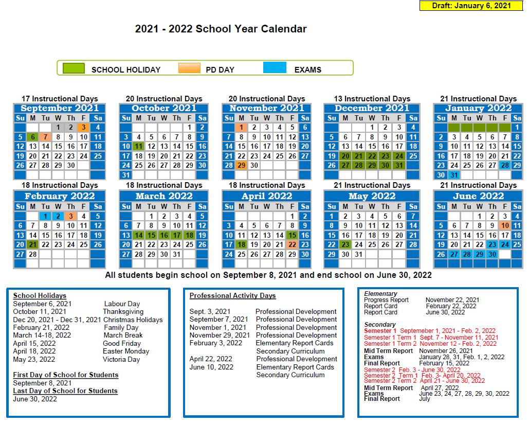 """<span style=""""text-decoration: underline;""""><strong>Calendar Option 2</strong><strong>/ Calendrier Option 2</strong></span><br>The second calendar has students beginning school on September 8, 2021, and ending school on June 30, 2022. Dans le premier calendrier, les étudiants retournent en classe le 8 septembre 2021 et terminent l'année scolaire le 30 juin 2022."""