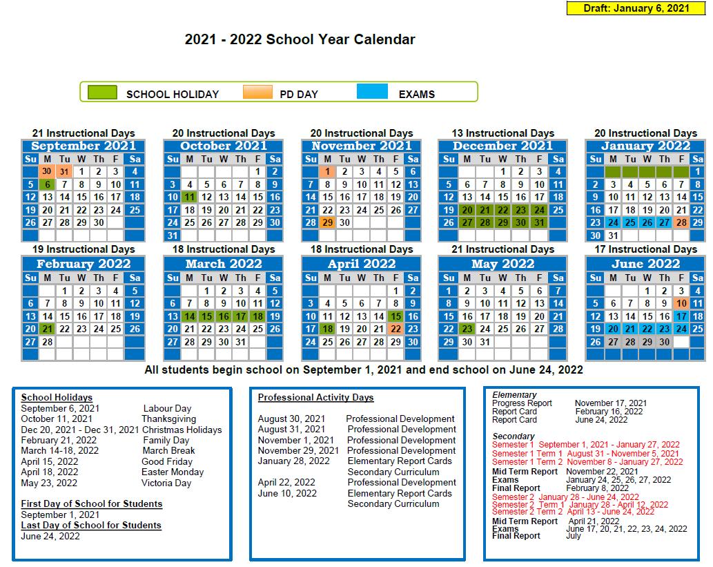 """<span style=""""text-decoration: underline;""""><strong>Calendar Option 1 /Calendrier Option 1</strong></span><br> The first calendar hasstudents beginning school on September 1, 2021, and ending school on June 24, 2022. Dans le premier calendrier, les étudiants retournent en classe le1er septembre 2021 et terminent l'année scolaire le 24 juin 2022."""