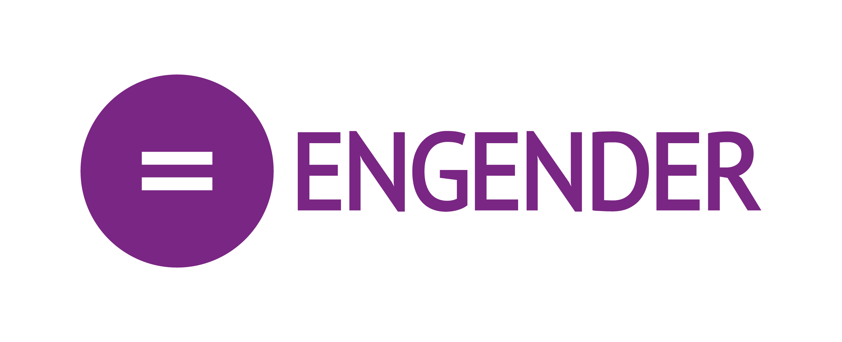 Engender's logo is a purple circle with an equals