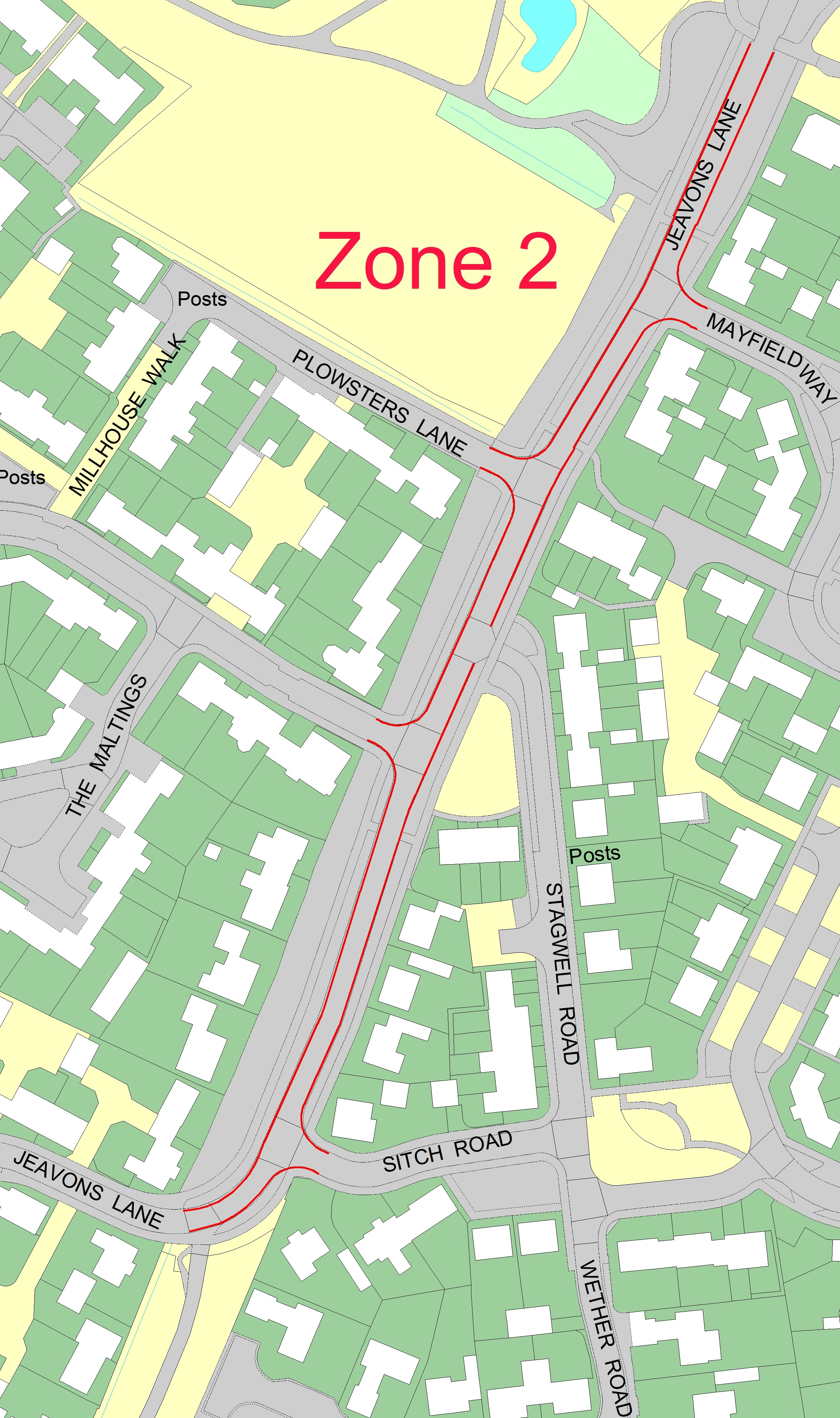 Zone 2 - Jeavons Lane (from the tennis court down past the turning for Miller Way, Stagwell Road to Sitch Road)