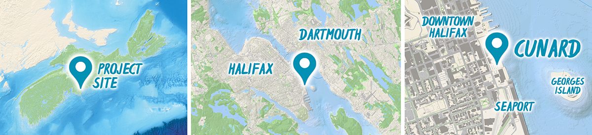 Three maps showing the location of the CUNARD project within Nova Scotia, Halifax and Dartmouth, and on the southern waterfront in downtown Halifax