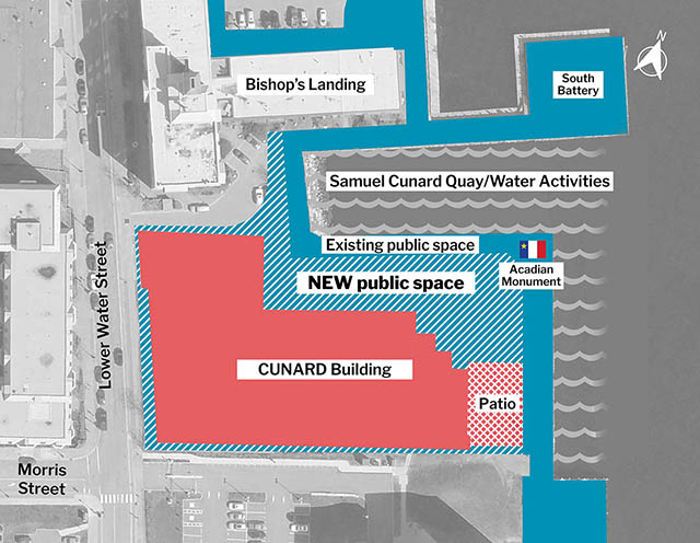 Overhead view of the CUNARD development site. Building shaded red, with public space and a public boardwalk (shaded blue) located between the building and the water's edge.