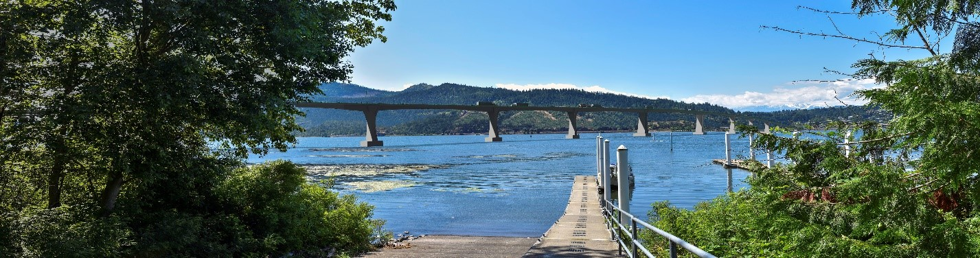 View from White Salmon Treaty Fishing Access Site of the proposed bridge.