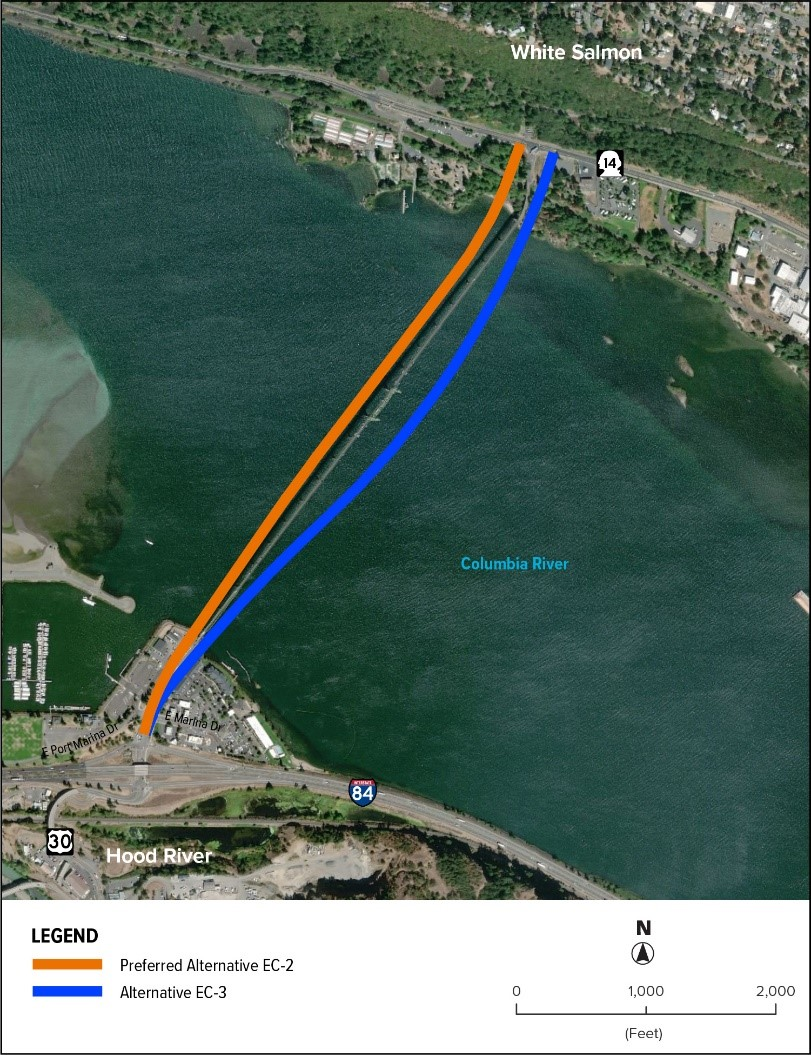 Preferred Alternative EC-2 is located just west of the existing bridge. Alternative EC-3 is located east of the existing bridge.