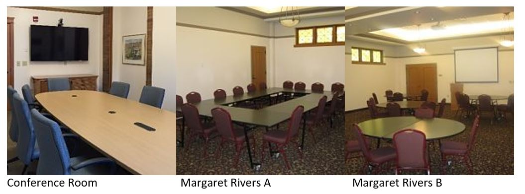 The library's three meeting rooms in the event wing: Margaret Rivers A, Margaret Rivers B and the Conference Room.
