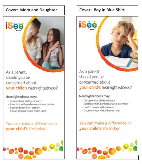 Brochure Covers:  Mom and Daughter, Boy in School
