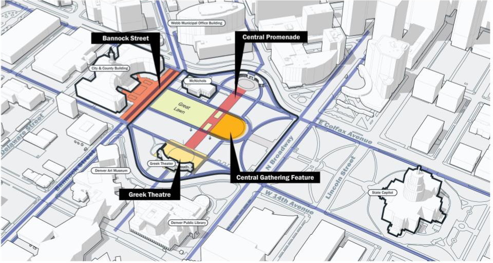 Map outlines Bannock Street, Central Promenade, Central Gathering Feature, and Greek Theatre