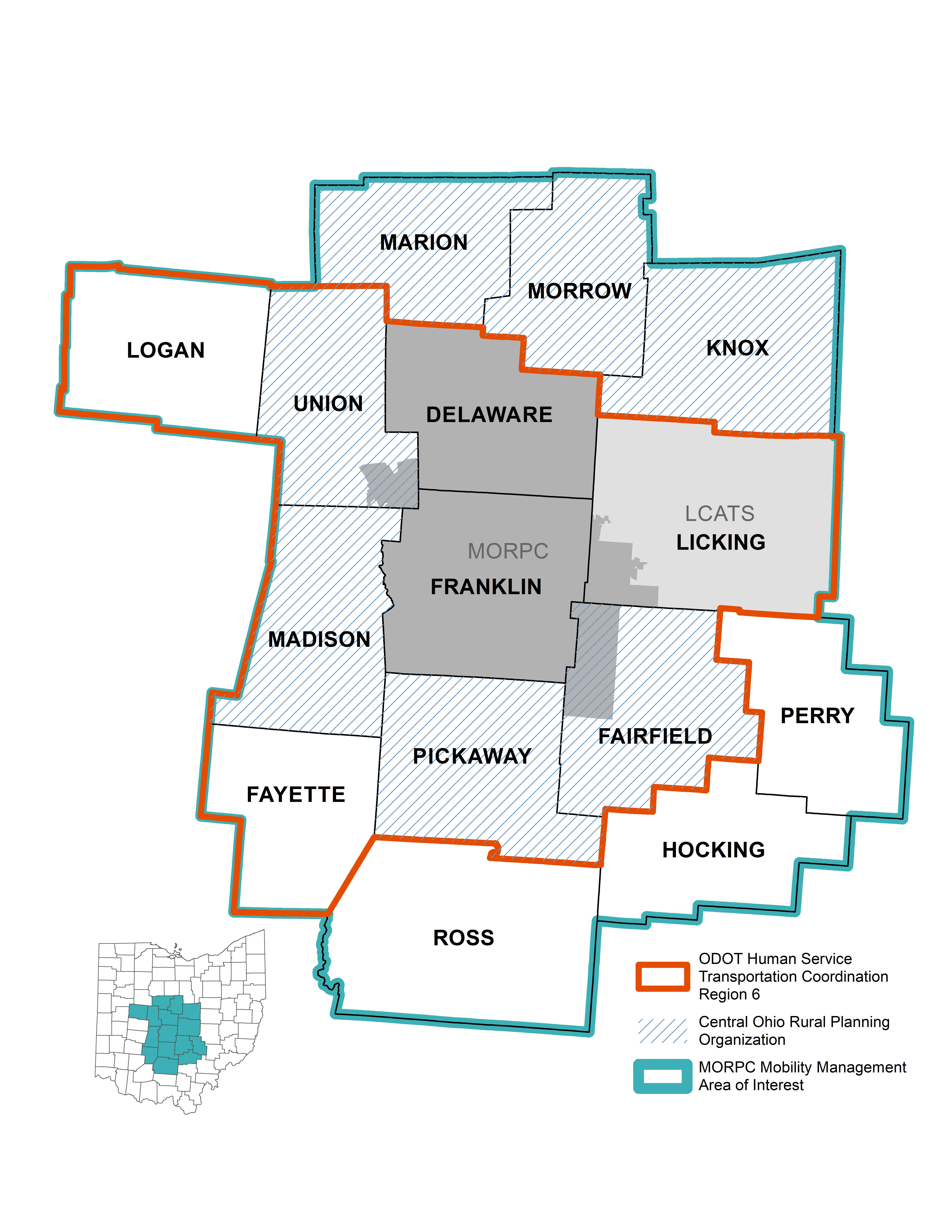 Mapa de referencia: Las áreas de interés del tránsito de la MORPC incluyen los condados a los que se hace referencia para completar el Plan de Movilidad Regional.