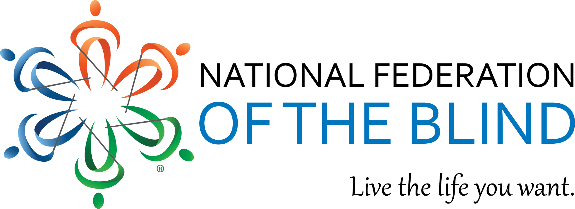 National Federation of the Blind logo, live the li