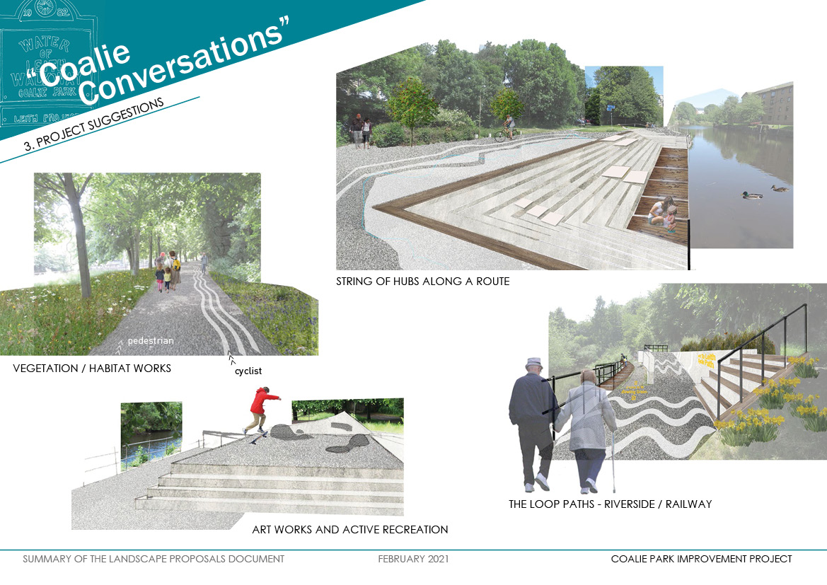 Think about these project ideas.<br> <ul> <li>The Loop Path - introduce an attractive walking route around the park, suitable for all</li> <li>Hubs - Develop the three existing 'hubs' of Coalie Park into a more welcoming and engaging riverside space. Waterside steps, area upstream of the Great Junction St bridge and the brick structures where the river turns and walkway splits</li> <li>Vegetation / habitat works - manage the trees, shrubs and grasslands to provide better views and more diverse habitat for wildlife</li> <li>Art works and Active Recreation - utilise the existing hard landscaping into a playful space and develop the potential for street art expression</li> </ul>
