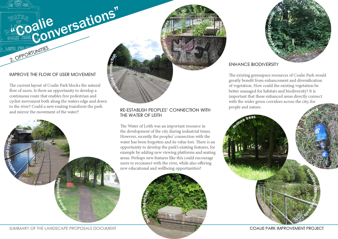 Think about these opportunities:<br> <ul> <li>Improve the flow of user movement</li> <li>Re-establish peoples' connection with the Water of Leith</li> <li>Enhance Biodiversity (nature and wildlife)</li> </ul>