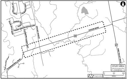 Map of the study area: Teston Road from 250 metres west of Pine Valley Drive to Kleinburg Summit Way.