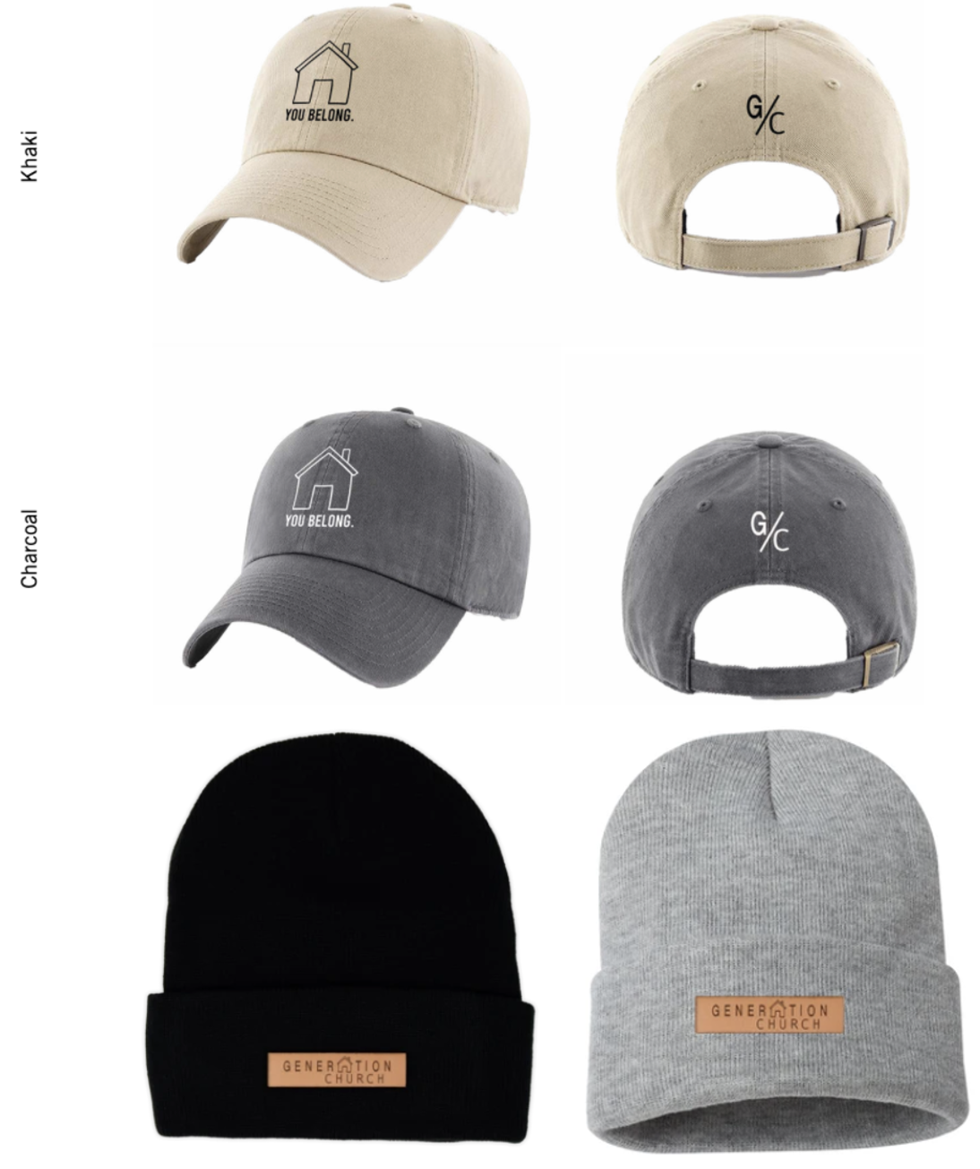 Let's get started! Feel free to scroll through our Merch and <strong>only</strong> fill in the items you'd like<br><br>Here's ourYou Belong caps