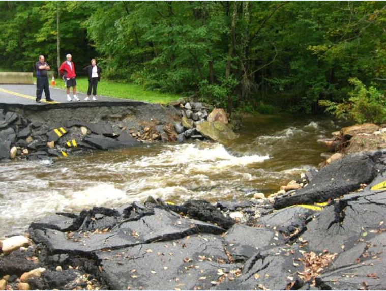 Road washout at Walker Brook in Becket