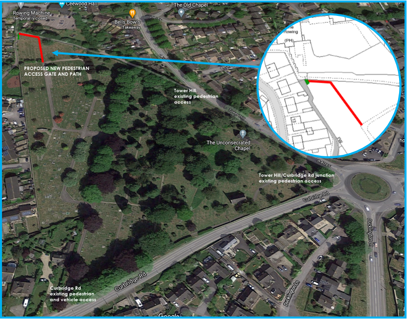 Map of Tower Hill Cemetery with insert showing location of new entrance