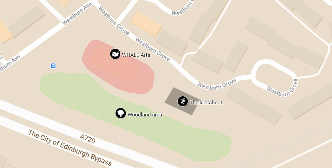 Here's a map of the WHALE site, the kickabout and the woodland