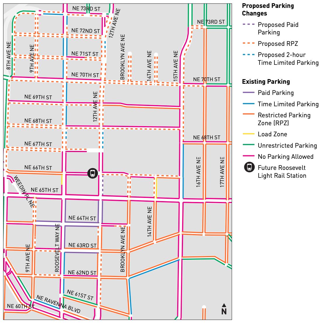 Proposed Parking Changes for Roosevelt Link Light Rail Station Area