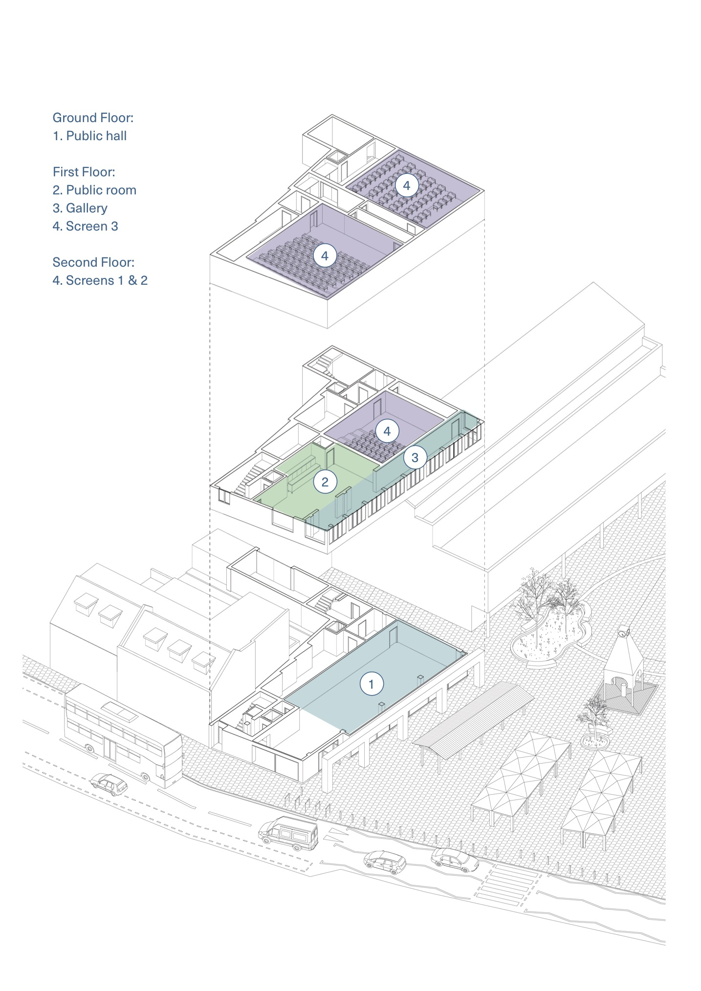 &gt;&gt; Scroll down to start the survey &lt;&lt;<br><br>Architect's drawing showing the proposal for the new arts and cultural space in the former Thorowgoods furniture store.<br><br>