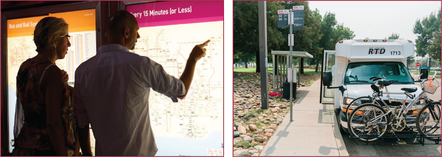 (Left) two people look at a transit display map for information. (Right) an RTD Metro Hopper vehicle is parked at a stop with the doors open.