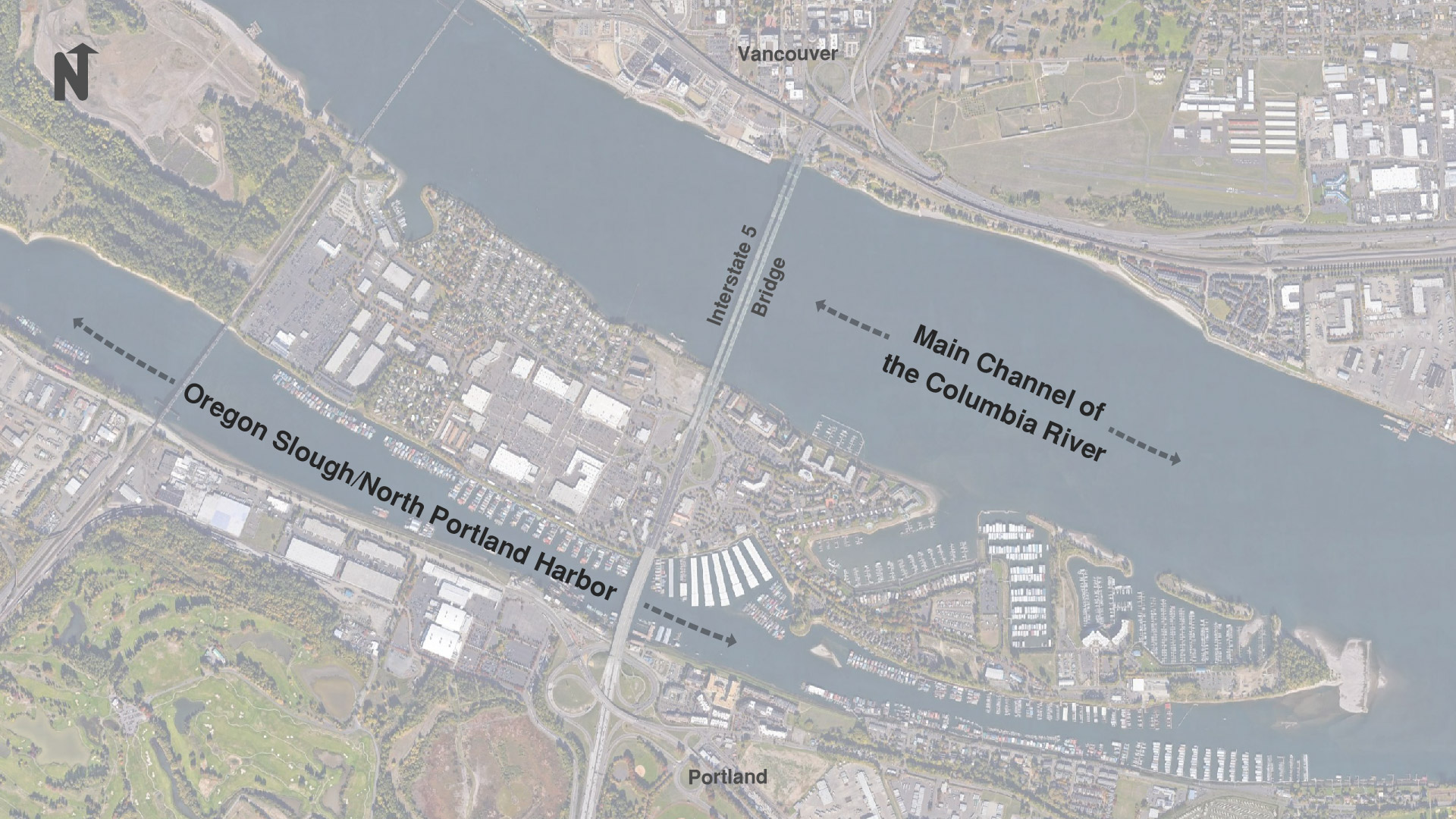 Map showing the location of the main channel of the Columbia River and the Oregon Slough