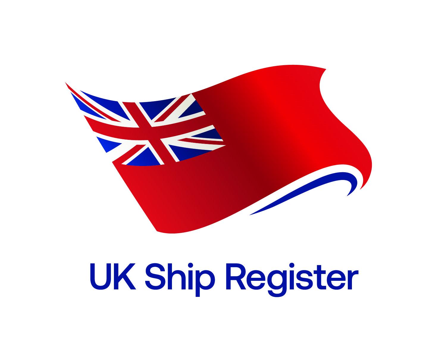 UK Ship Register logo,  red flag with union jack i