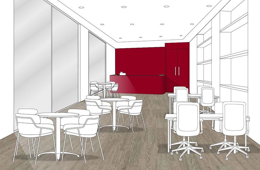 Grey oak floor - brick red wall