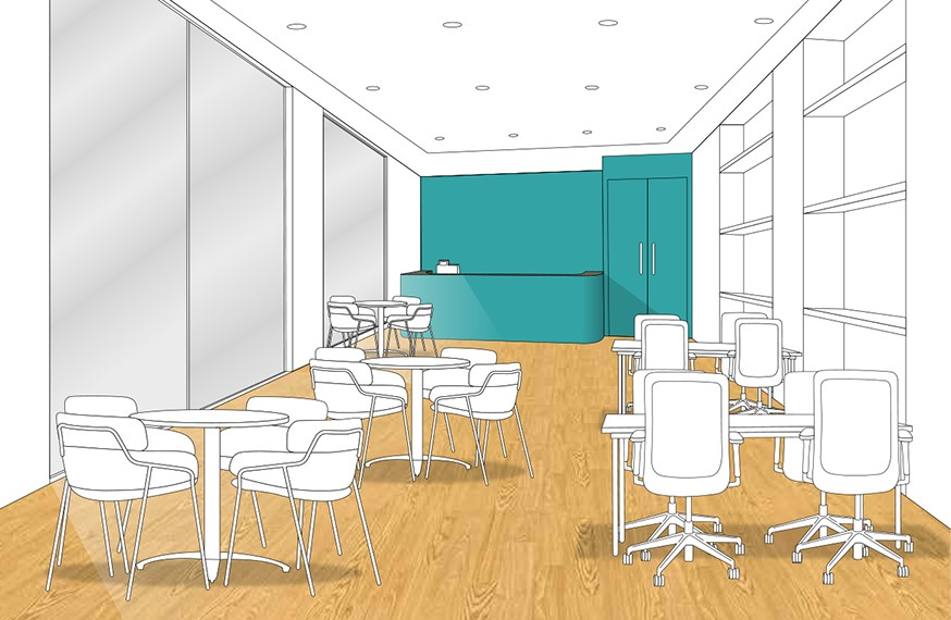 Pine floor - turquoise wall