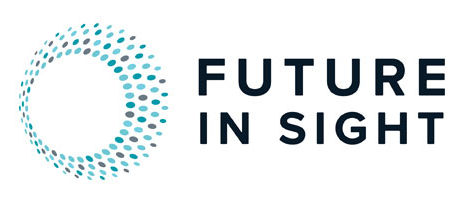 Future In Sight Logo with round burst of teal and