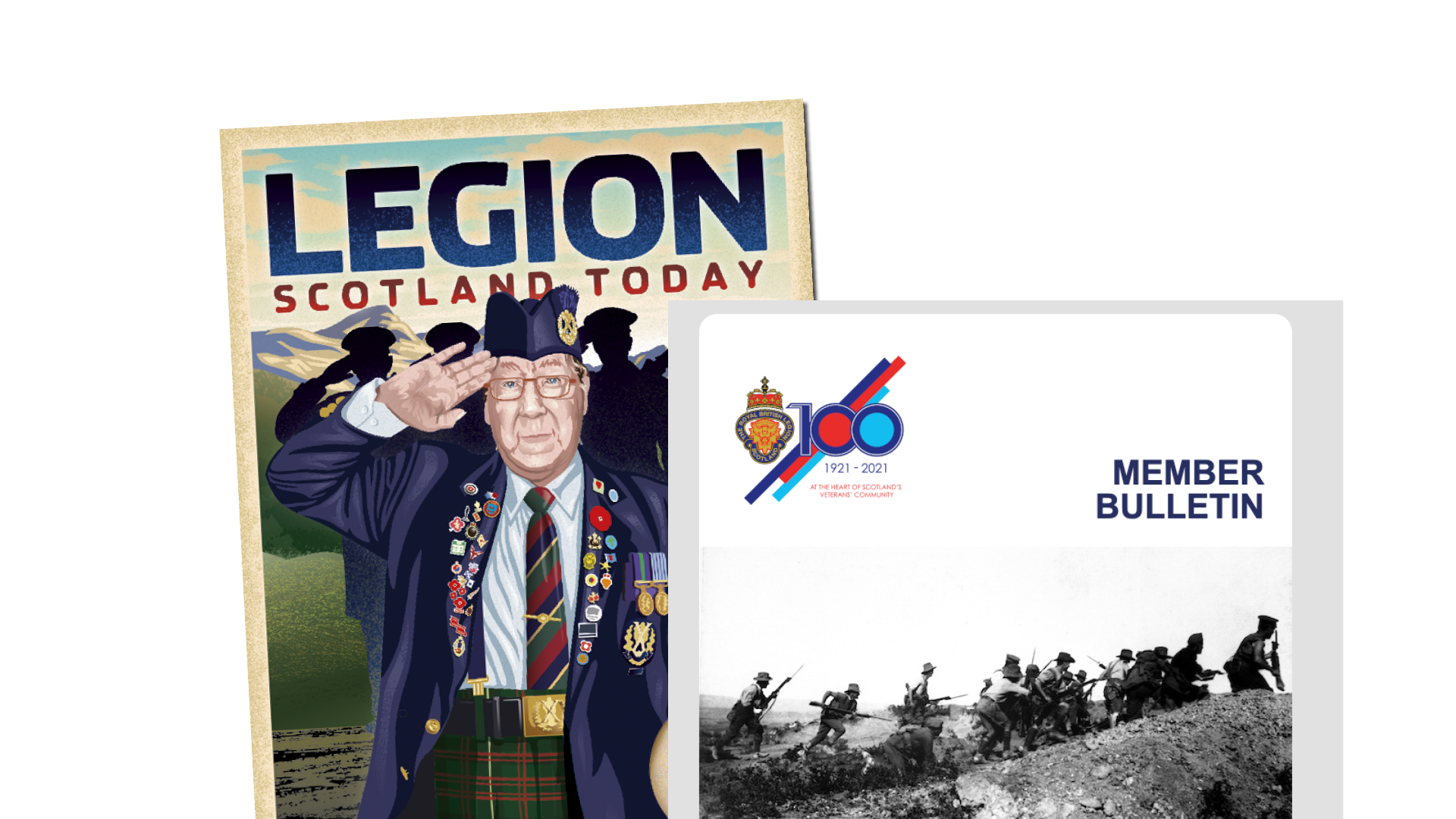 Legion Scotland Today cover and a visual of the Members E-Bulletin