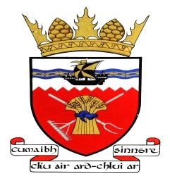 Tiree Community Council Logo - wheat sheaf, tools