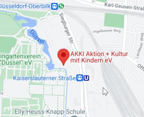 <strong>Hier findet die Veranstaltung statt.</strong> <br>AKKI Aktion+ Kultur mit Kindern e.V. Siegburger Str. 25, 40591 Düsseldorf <br>Quelle: GoogleMaps 2021