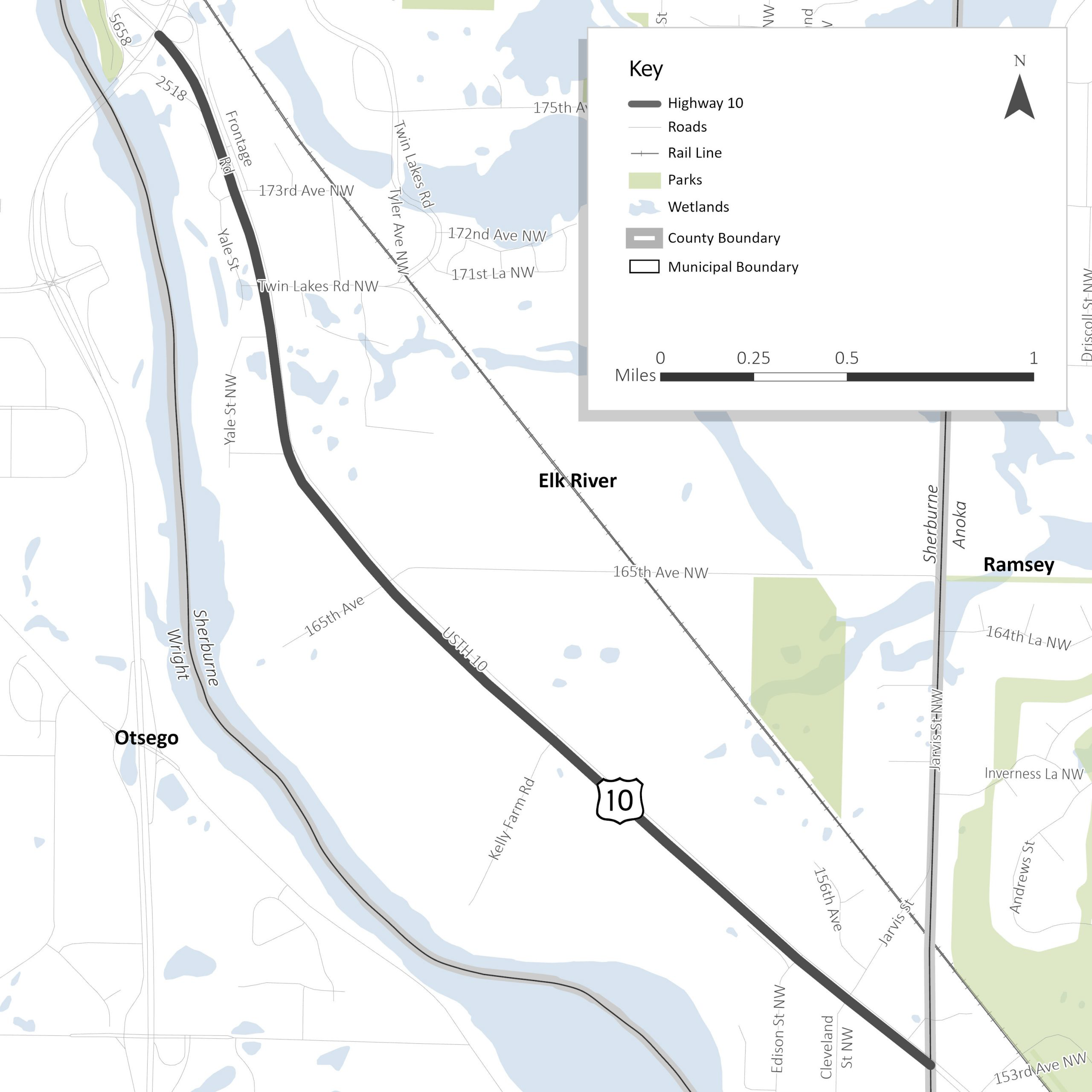 """<div style=""""text-align: center;""""><strong>Elk River Highway 10 Corridor StudyProject Area</strong></div>"""