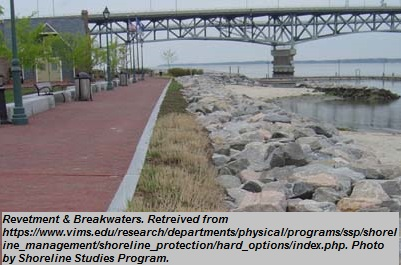 """Revetment and Breakwaters<br><span style=""""font-family: arial, helvetica, sans-serif; font-size: 12pt; color: #4a4a4a;"""">Permanent flood protection measure that combines revetment measures described above with additional protection from wave activity in the waters through the placement of breakwaters. Breakwater aim to provide additional protection to shoreline by reducing wave activity in the waters between initial impact and the shoreline.</span>"""