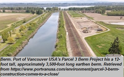 """Berm<br><span style=""""font-family: arial, helvetica, sans-serif; font-size: 12pt; color: #4a4a4a;"""">Permanent structure that combines flood protection and natural habitats or recreational options. An engineered berm reduces shoreline flooding by relying on the ability of coastal habitats to absorb wave energy and slow down floodwaters. By including a natural edge with wet meadow and emergent plants, flood reduction associated with the berm occurs on horizontal and vertical gradients.</span>"""