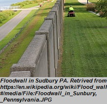 """Floodwall<br><span style=""""font-family: arial, helvetica, sans-serif; font-size: 12pt; color: #4a4a4a;"""">Permanent flood protection measure constructed to prevent water intrusion. Floodwalls must be specially designed to resist the pressure caused by the floodwater acting on one side of the wall. While floodwalls are often constructed of reinforced concrete, they can be faced with more attractive building materials or integrated into the landscaping of the site to be more attractive and less conspicuous.</span>"""