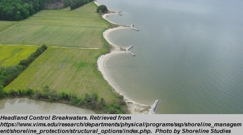 """Headland Control Breakwaters<br><span style=""""font-family: arial, helvetica, sans-serif; font-size: 12pt; color: #4a4a4a;"""">Permanent land mass with a considerable elevation that extend the borders of beaches and shorelines. Headlands compartmentalize sand transport along the shore and absorb the force of waves, creating calmer waters on the shoreline side and reducing impacts of erosion.</span>"""