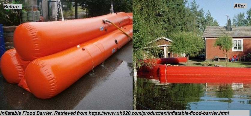 """Inflatable Barrier<br><span style=""""font-size: 12pt; color: #4a4a4a; font-family: arial, helvetica, sans-serif;"""">Temporary flood protection measure deployed prior to flood event. Image on the right depicts inflatable barrier being filled pre-event, while image on the left depicts inflatable barriers in use during event.</span>"""