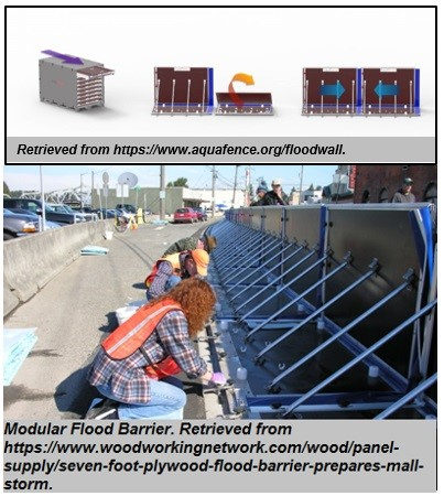 """Modular Flood Barrier<br><span style=""""font-family: arial, helvetica, sans-serif; font-size: 12pt; color: #4a4a4a;"""">Temporary flood protection measure that is deployed prior to flood event. Image on right depicts module barriers collapsed when not in use and stored, while image on right depicts module barriers in use during event. </span>"""